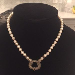 Judith Jack marcasite pearl necklace